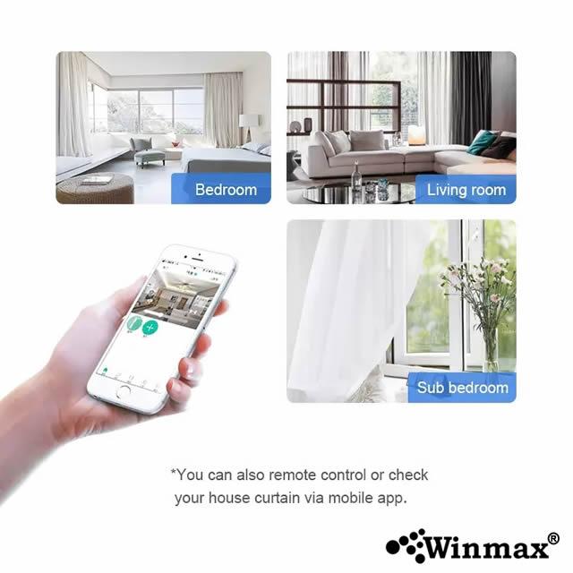 ชุดควบคุมการเปิดปิดม่านไฟฟ้าอัจฉริยะ สั่งงานผ่านสมาร์ทโฟน ระยะ 1.7-3 เมตร Winmax SM007
